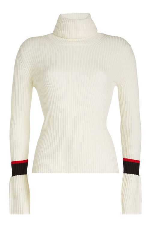 Moncler Ribbed Wool Turtleneck Pullover In White