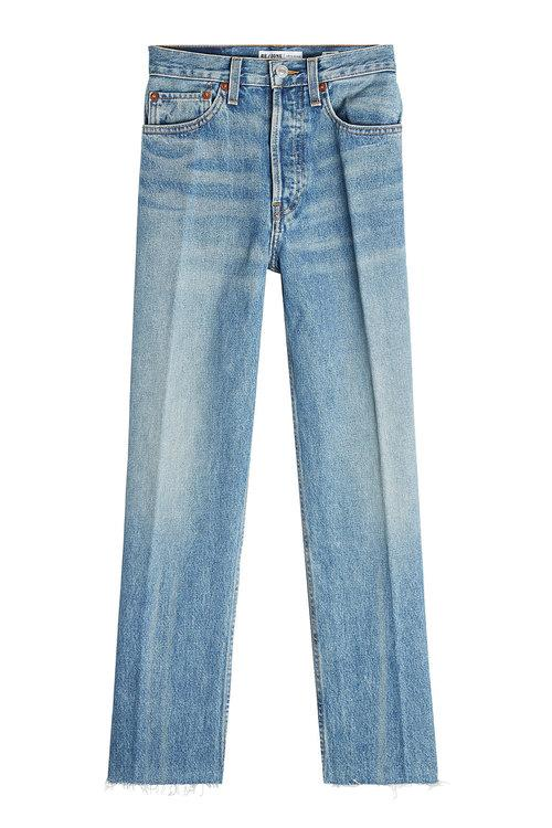Re/done High-rise Stovepipe Jeans In Blue