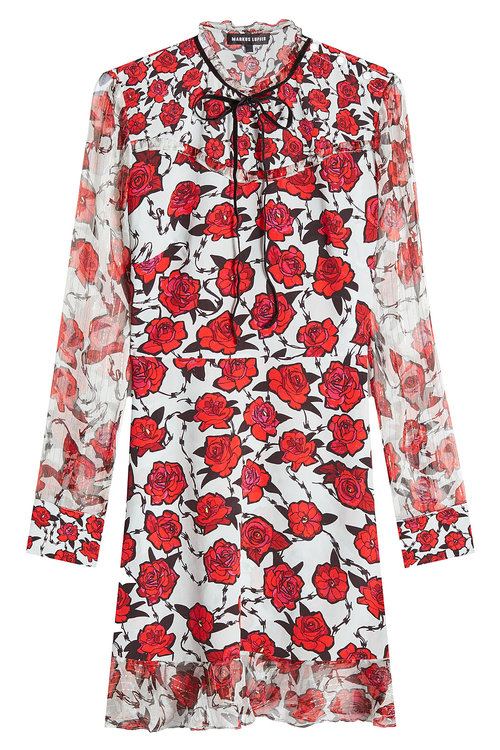 Markus Lupfer Printed Silk Dress In Multicolored
