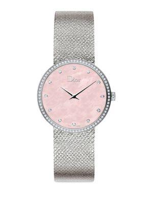 Dior La D De  Diamond, Mother-of-pearl & Stainless Steel Watch In Pink Mother-of-pearl