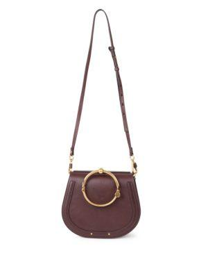 7ba4d0244193 ChloÉ Small Nile Leather   Suede Bracelet Bag In Carbon Brown