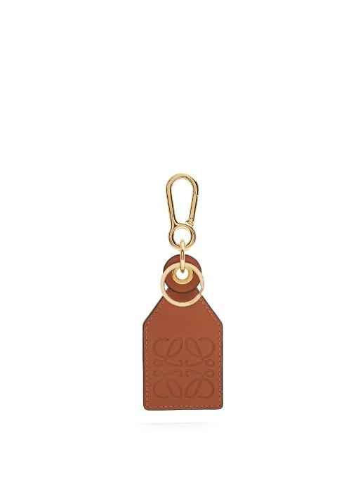 Loewe Tag Charm Leather Luggage Tag In Brown