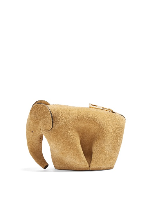 Loewe Elephant Suede Coin Purse In Tan
