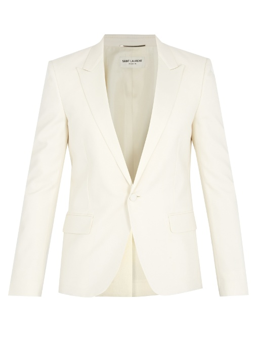 Saint Laurent Peak-lapel Wool And Mohair-blend Tuxedo Jacket In Ivory