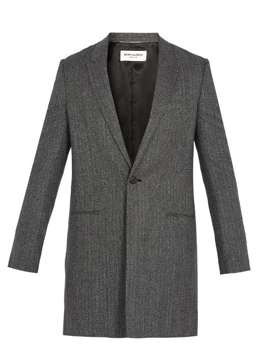 Saint Laurent Peak-lapel Herringbone-wool Overcoat In Black White