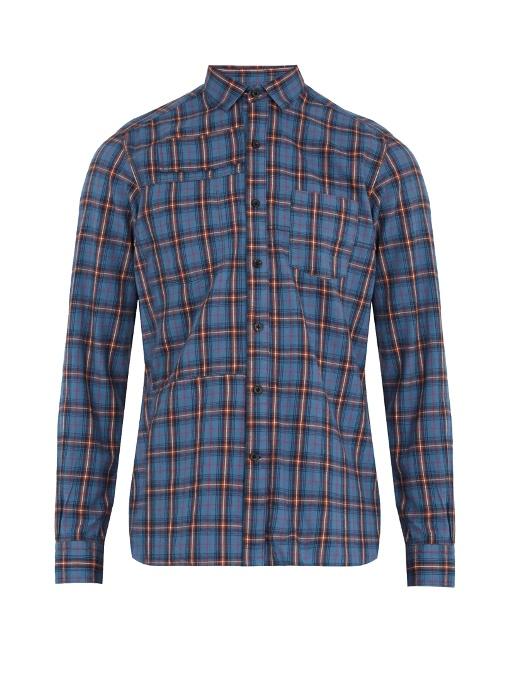 Lanvin Plaid Single-cuff Cotton Shirt In Blue Multi