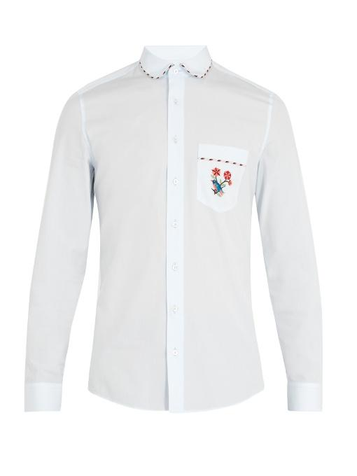 Gucci Embroidered-pocket Cotton Shirt In Light Blue