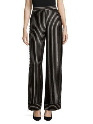 Yigal AzrouËl Striped Wide-leg Trousers In Jet