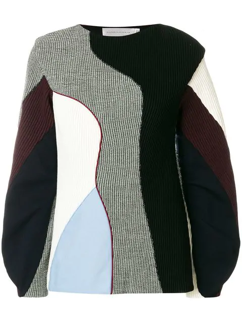 9507f08d96 Colourblock Mixed Knit Panelled Sweater in Multicolour