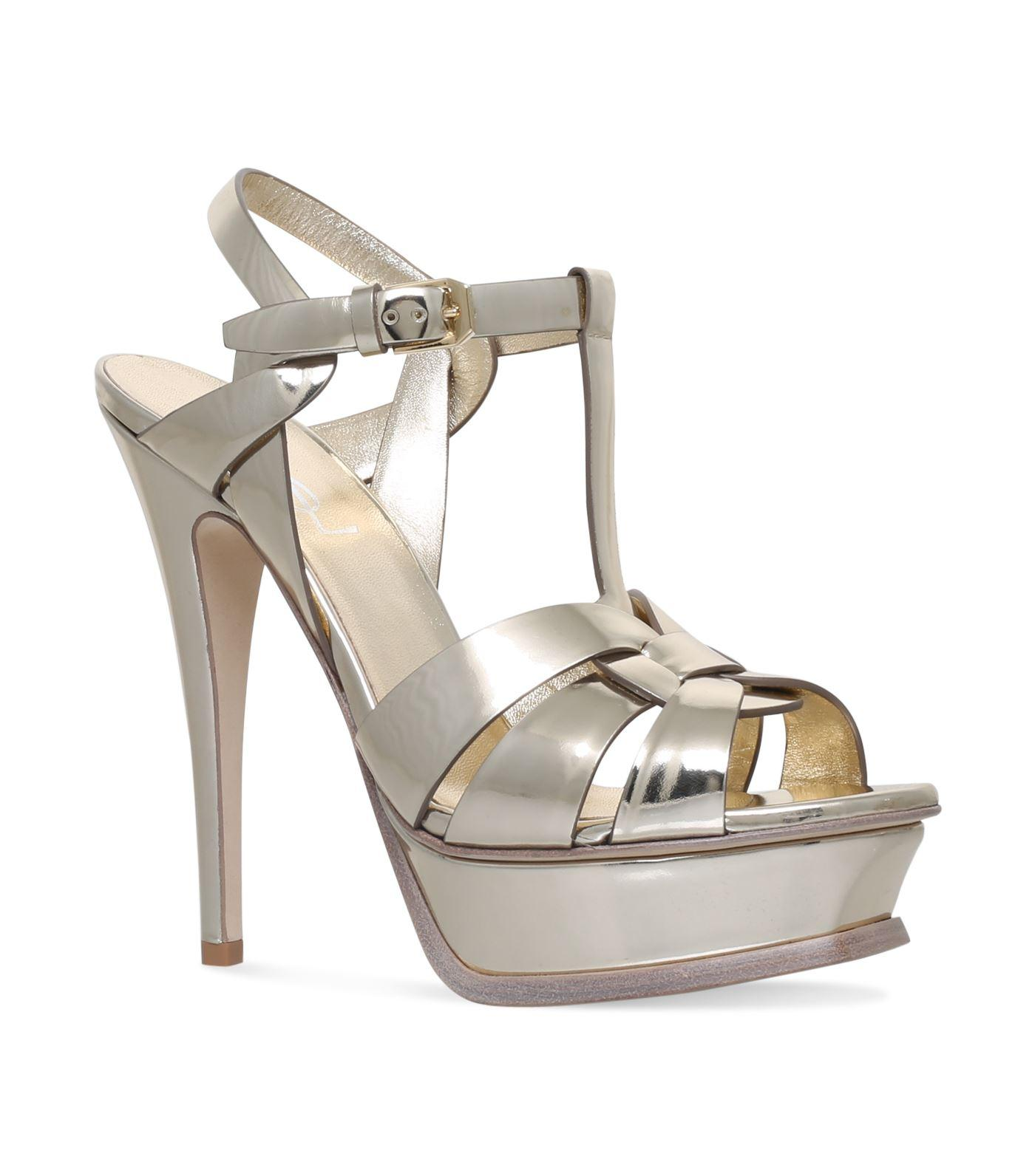 Saint Laurent Patent Tribute Sandals 105 In Brown