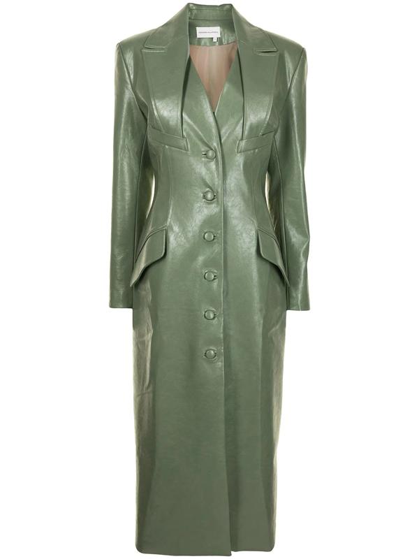 Aleksandre Akhalkatsishvili Tailored Faux-leather Coat In Grün