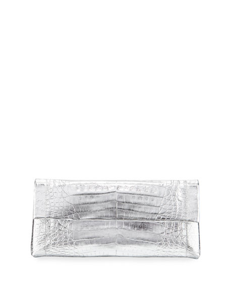 Nancy Gonzalez Gotham Crocodile Flap Clutch Bag In Silver