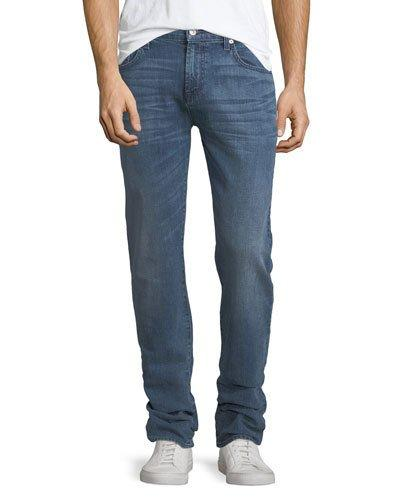 7 For All Mankind The Straight Whiskering Jeans In Blue