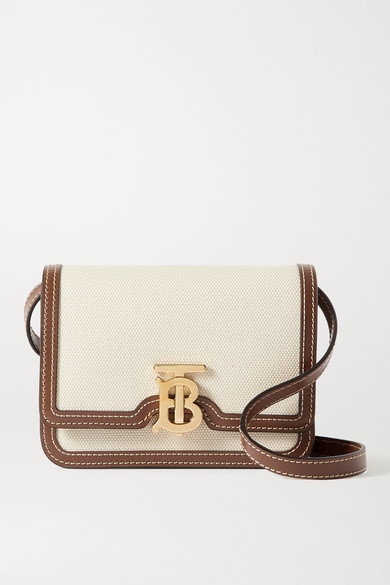 Burberry Tb Monogram Canvas & Leather Shoulder Bag In Brown
