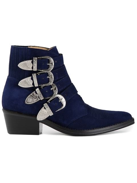 Toga Blue Suede Western Buckle Boots
