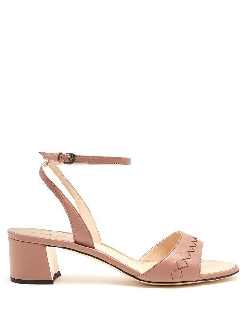 Bottega Veneta Intrecciato Leather Sandals In Dark Pink