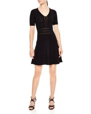 Sandro Betsy Open-knit Detail Dress In Black