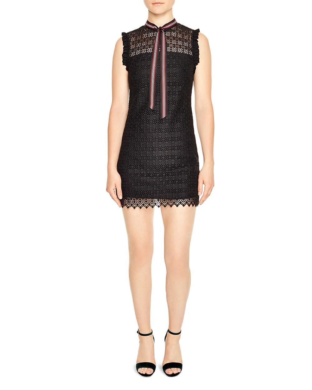 Sandro Fidele Tie-neck Lace Mini Dress In Black