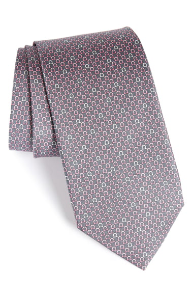 Salvatore Ferragamo Geometric Print Silk Tie In Grey
