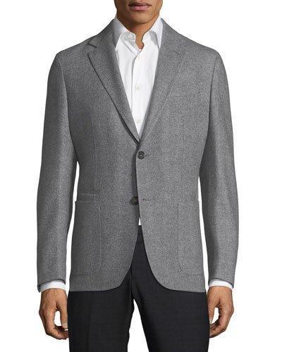 Ermenegildo Zegna Herringbone Wool-cashmere Sport Coat In Gray Pattern