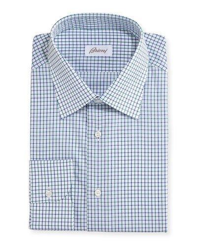 Brioni Multi-check Cotton Dress Shirt
