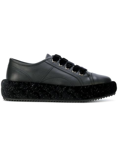 Marco De Vincenzo Plaited-detail Leather Low-top Trainers In Black