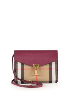 Burberry Macken Small House Check   Leather Crossbody Bag In Mahogany Red 21b74ca997900