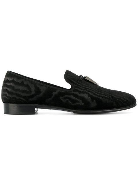 Giuseppe Zanotti Velvet Shark Tooth Slippers In Black