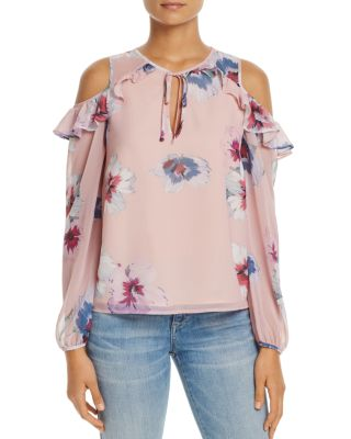 Yumi Kim Stella Cold-shoulder Top In Forget Me Not Blush