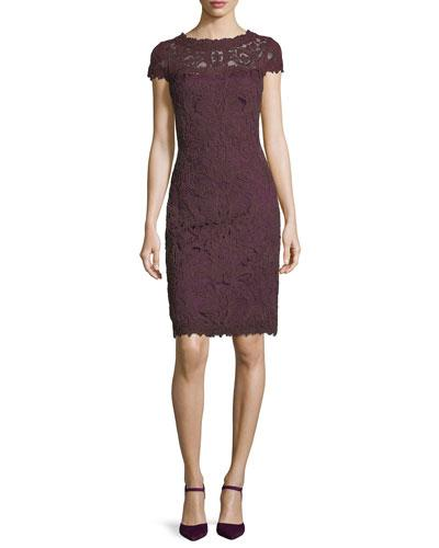Tadashi Shoji Cap-sleeve Sequined Lace Cocktail Dress In Gold