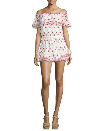 Alexis Clive Off-the-shoulder Lace Romper In Red/white