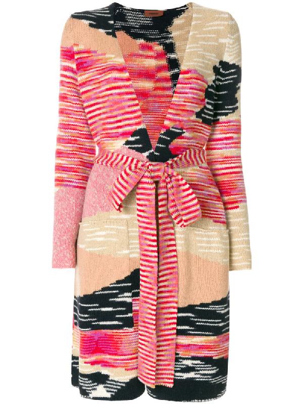 Missoni Graphic Intarsia-Knit Wool-Blend Cardigan In Red Multi