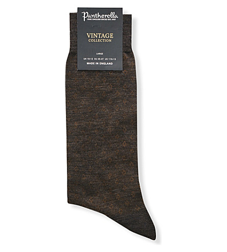 Pantherella Dartmouth Diamond-print Socks In Dk Brown