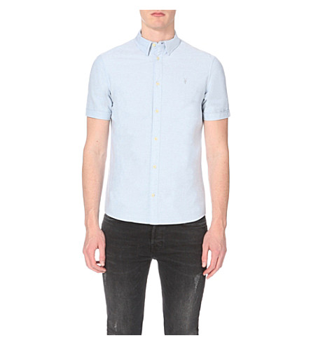 Allsaints Hungtingdon Embroidered Cotton Shirt In Light Blue