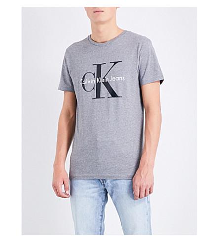 Calvin Klein Logo-print Cotton-jersey T-shirt In Mid Grey Heather