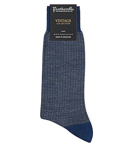 Pantherella Finsbury Patterned Wool-blend Socks In Dk Blue