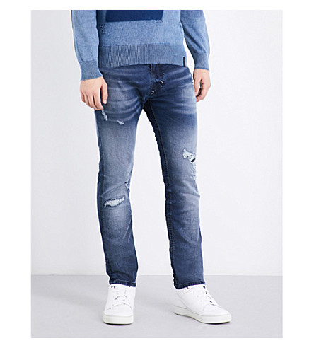 Diesel Thavar Sp-ne Regular-fit Tapered Jogg Jeans In Light Wash Blue