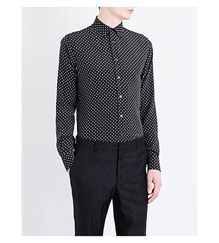 Alexander Mcqueen Regular-fit Skull-print Silk Shirt In Black/white