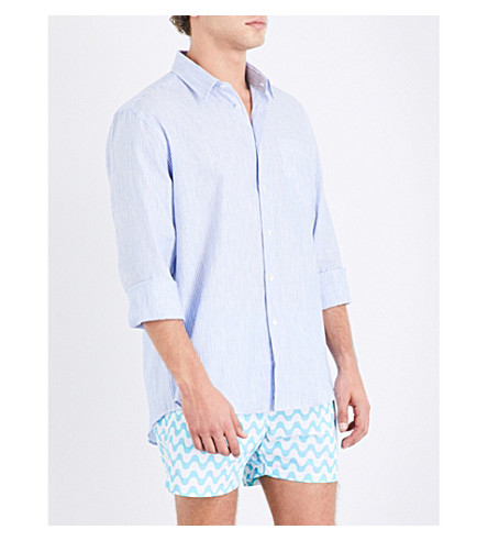 Vilebrequin Striped Linen And Cotton-blend Shirt In Blue Wht