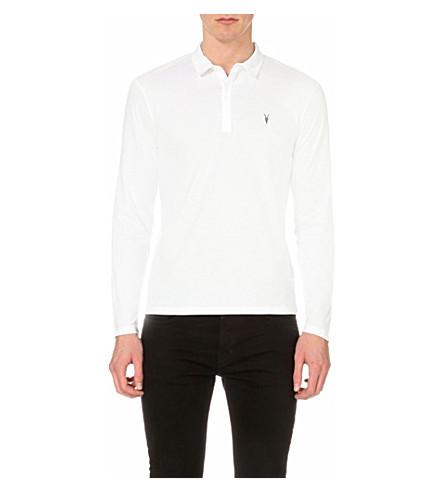 Allsaints Brace Long-Sleeved Cotton-Jersey Polo Shirt In Jet Black