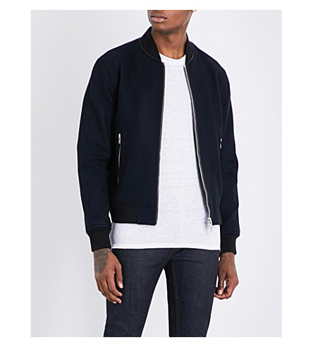 Sandro Textured Wool-blend Bomber Jacket In Navy Blue