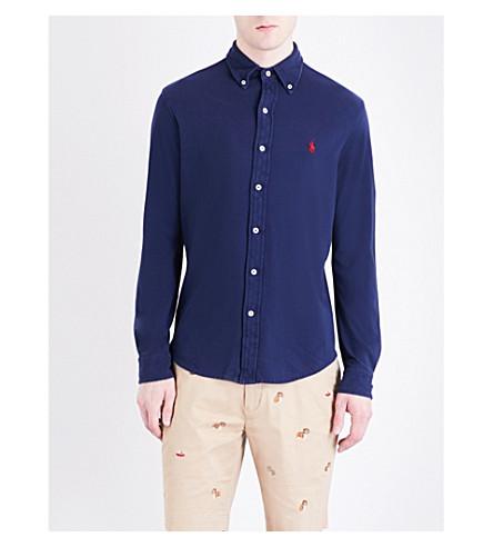 Polo Ralph Lauren Regular-fit Featherweight Cotton-mesh Shirt In Newport Navy