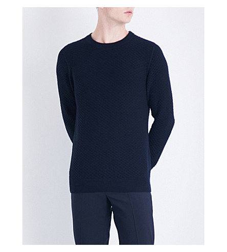 Sandro Textured Cotton And Wool-blend Sweater In Navy Blue