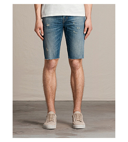 Allsaints Ildham Switch Slim-fit Denim Shorts In Indigo Blue