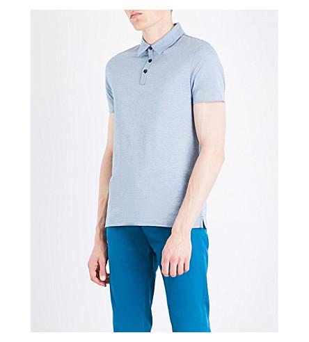 Hugo Boss Striped Cotton Polo Shirt In Turquoise/aqua