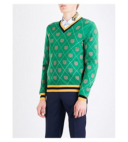 Gucci Tiger-intarsia Wool Jumper In Green Pink Yellow