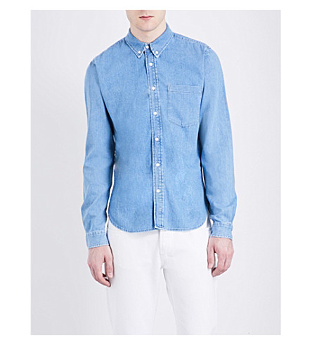 Sandro Regular-fit Pure-cotton Denim Shirt In Blue Vintage - Denim