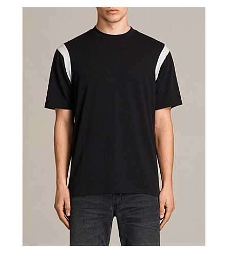 Allsaints Tonic Cotton-jersey T-shirt In Black/chalk