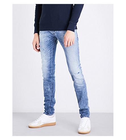 Diesel Sleenker Distressed Skinny Mid-rise Stretch-denim Jeans In Light Wash Blue