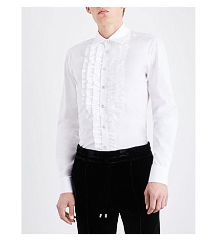 Bally Ruffled Regular-fit Cotton Shirt In Warm White